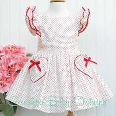 Stella Vintage inspired Red Polka Dot Pinafore Dress Heart pockets baby toddler girl handmade sunshine clothing