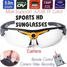 41.59$  Buy now - http://ali29f.shopchina.info/go.php?t=32806508803 - 5MP CMOS Sports Sunglasses Mini DV Sunglasses Motion Camera 720P HD Digital Video Recorder Photo DVR TF USB TV Remote Control 41.59$ #buyininternet