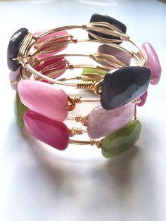 Il braccialetto d'oro bauble caramelle colorate Jade di LuELsDecor, $14.99