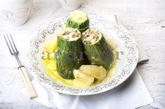 Stuffed zucchini with lemon sauce by argiro Lemon Sauce, Cooking Recipes, Healthy Recipes, Food Categories, Mediterranean Recipes, Greek Recipes, Food To Make, Dinner Recipes, Food Porn