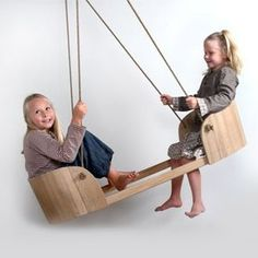 """I pinned this for the kiddos, but it also inspires me to do a double swing """"tete-a-tete"""" style, so the kids can watch each other laugh"""