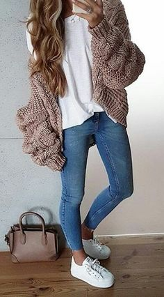 #winter #outfits blue denim jeans and white low-top sneakers
