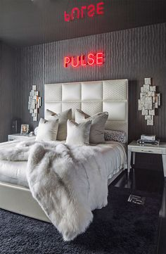 "Edgy Glam. Felicia Zwebner Presents a ""Wolf of Wall Street"" Inspired Apartment Using Fendi Casa Dream Bedroom, Edgy Bedroom, Modern Bedroom, Dream Rooms, Bedroom Inspo, Master Bedroom, Neon Sign Bedroom, Neon Room Decor, Neon Lights Bedroom"
