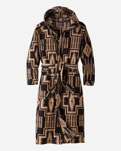 MENS JACQUARD COTTON TERRY ROBE DARK NAVYBROWN HARDING