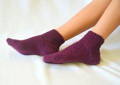 burgundy hand knitted women socks girl socks cozy socks by bstyle, $20.00