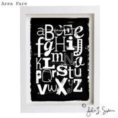 8 x 10 Black and White Fun Letters ABC Nursery Art by AreaFareKids