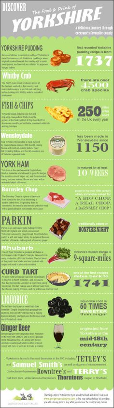 Yorkshire has an amazing culinary heritage. We teamed up with Gorgeous Cottages, the go-to place for luxury holiday lets in Yorkshire, to create this brilliant infographic about Yorkshire's best food and drink. Yorkshire Food, Yorkshire England, Yorkshire Dales, North Yorkshire, Yorkshire Sayings, Yorkshire Recipes, England And Scotland, England Uk, Leeds England