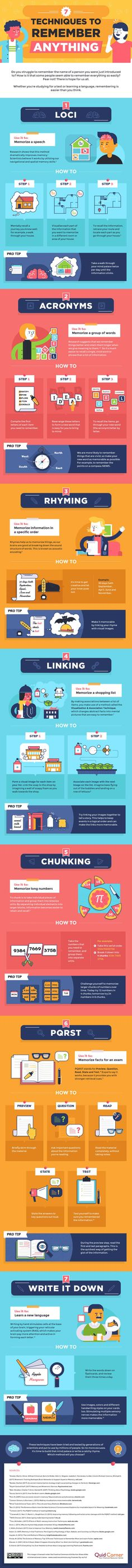 7 Techniques to Remember Anything - #infographica