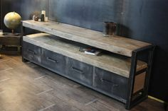 Buffet bois brut industriel 4 tiroirs - MICHELI Design
