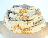 Gold Snowflake Infinity Scarf- Hand block printed, Natural Vegetable Dyes, 100% Cotton Loop Scarf, Infinity Cowl, Tube Scarf