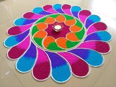 Colourful Ganesh chaturthi special rangoli design by DEEPIKA PANT Rangoli Designs Latest, Simple Rangoli Designs Images, Rangoli Designs Flower, Rangoli Border Designs, Rangoli Patterns, Colorful Rangoli Designs, Rangoli Ideas, Rangoli Designs Diwali, Flower Rangoli