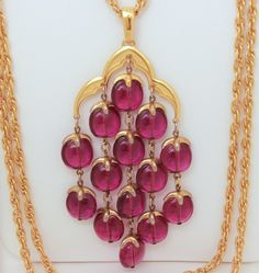 Crown Trifari Waterfall Necklace with Amethyst Color Lucite Beads Gold Tone Triple Chain