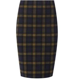 Navy and Yellow Check Pencil Skirt $14.99  Size S or XS