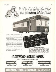 Image detail for -ORIGINAL - 1954 Fleetwood Mobile Home ~ Vintage RV Photo AD