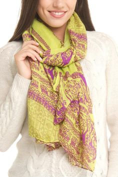 """Green cover up that can be wrapped multiple ways.    Measures: 68"""" x 30""""   Deer Pareo Scarf by Violet Del Mar. Accessories - Scarves & Wraps San Diego, California"""