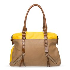 Mantua via shoe dazzle >> This site has awesome bags! Love this one, great touch of yellow and nice classic style $39.95