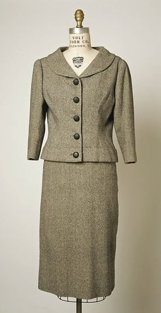 Suit  House of Balenciaga (French, founded 1937)  Designer: Cristobal Balenciaga (Spanish, 1895–1972) Date: ca. 1954 Culture: French Medium: wool, wood
