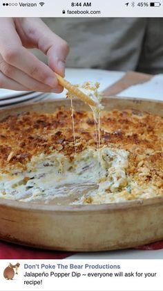 Jalapeño Popper Dip ~ everyone will ask for your recipe! 6-8 slices of bacon, diced and cooked crispy 2 8-oz packages of cream cheese, soft 1 cup of mayonnaise 4-6 jalapeno's, chopped and deseeded. The seeds will make it fiery hot. 1 cup of cheddar cheese, shredded 1/2 cup of mozzarella cheese, shredded 1/4 cup diced green onion Topping: 1 cup of crushed crackers ( I used Ritz) 1/2 cup parmesan cheese 1/2 stick of butter, melted Preheat oven to 350. Combine all of the ingredients into a…