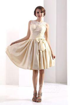 Cute A-Line Bateau Knee Length Taffeta Champagne Bridesmaid Dress COXK13002#Cocomelody#bridesmaiddress#bridesmaidgown#