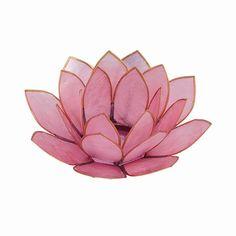 Pastel Pink Capiz Shell Lotus Candle Holder