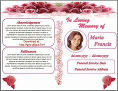 Free Funeral Program Obituary Template White Rose Red Background