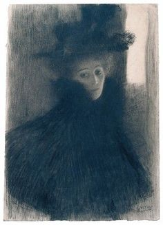 Gustav Klimt. Portrait of a Lady with Cape and Hat, 1897-98. Black and red chalk. Albertina, Vienna