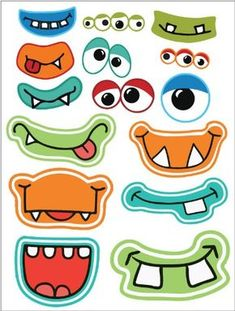 Halloween Printables Frebies pour Photo Booths - Welcome OyunRet Little Monster Party, Monster Birthday Parties, Cute Monsters, Little Monsters, Vinyl Sticker Sheets, Activities For Kids, Crafts For Kids, Monster Crafts, Monster Face