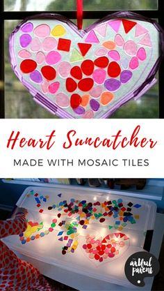 Mosaic tiles and a light table make an engaging kids activity. Also try turning these mosaic tiles into beautiful heart suncatchers to display in the window for Valentine's Day. #valentinecraft #valentinesday #kidscrafts #kidsactivities #suncatchers