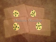 easter burlap placemats with easter eggs, polka dots & monogram Easter Placemats, Easter Eggs, Burlap, Polka Dots, Monogram, Tableware, Fun, Decor, Dinnerware