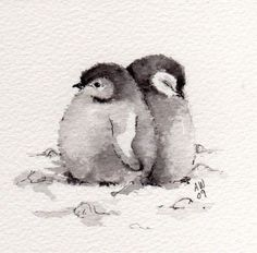 2 Little Penguin Chicks Original ink/watercolour by wildsunartYou can find illustration art and more on our Little Penguin Chicks Original ink/watercolour by wildsunart Watercolor Paintings Of Animals, Watercolor Bird, Drawing Animals, Animal Drawings, Simple Watercolor, Watercolour Pencil Art, Pastel Watercolor, Watercolor Ideas, Watercolor Sketch
