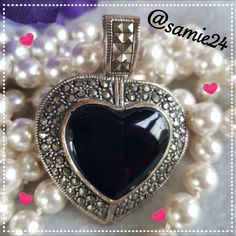 STERLING SILVER 925CFJ PENDANT New without tags. Never have worn. 925CFJ stamped . Beautiful heart shaped pendant with black onyx. Sterling Silver  Jewelry