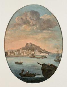 Memoria gráfica de España.: Alicante- Vicente Suárez Ordóñez (Pamplona, documentado entre 1795 y 1809 Vista de Alicante (hacia 1800). Óleo sobre lienzo.  Museo de Bellas Artes Gravina.