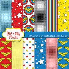 wonder woman themed digital scrapbook papers by lane + may on Etsy, $7.50