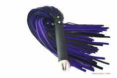 Huge dark purple with black leather bdsm flogger - 100+ falls - Very heavy! - Thudy - Big stainless steel endknob - Genuine suede leather by WhipsbyWolf