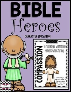 This packet includes ELEVEN Character Education activities. Each activity uses a Bible Hero story to teach the character trait. The following stories and character traits are covered:Compassion: Jesus Heals a LeperFriendship: David and JonathanPerseverance: JosephRespect: Ruth and NaomiCourage: Queen EstherPatience: NoahHonesty: DanielCooperation: GideonGenerosity: Jesus Feeds 5,000Kindness: Jesus Heals a Paralyzed ManResponsibility: PaulEach Bible Hero Character Lesson includes:Mini Lesson…