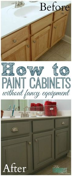 Quirky Home Decor The Average DIY Girl's Guide to Painting Cabinets: Supplies - no professional equipment needed! Home Decor The Average DIY Girl's Guide to Painting Cabinets: Supplies - no professional equipment needed! Home Renovation, Home Remodeling, Painted Furniture, Diy Furniture, Kitchen Furniture, Garden Furniture, Sweet Home, Painting Cabinets, Paint Bathroom Cabinets