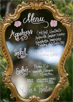 Wedding Ideas: 19 Fabulous Ways to Use Mirrors - wedding menu idea; Photography: Matthew Nigel