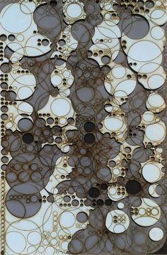 holger lippmann packing hacking, 2012 – bajo relieve basado en un algoritmo superpuesto a varias planchas de contrachapado pintado y cortado con láser. 3-5 capas, 4mm contrachapado