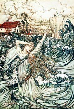 Ejemplo de Arturo Rackham, de la ondina, por De La Motte Fouqué, London, 1909.