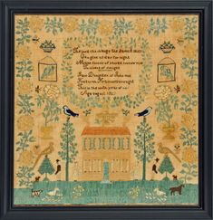 JANE HAMMELL, Burlington County, NJ, dated 1829. Jane, aged 9, stitched one of the most exciting samplers worked in Burlington County. Her twin sister Elizabeth, made an almost identical piece the same year. They both feature a spread eagle over a center hall house with vivid flowers, parrots in cages, birds perched on trees, people and animals. Jane enhanced her sampler with an uplifting verse from an Isaac Watts hymn.