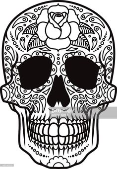 A Mexican sugar skull (Calavera) icon, black and white line art. The sugar skull is a sugar or clay sculpture of a human skull that is used during Day of the Dead/All Soul's Day celebrations. Decorated with floral elements. Download includes an AI10 EPS (CMYK) and a high resolution RGB JPEG sized to 4000 pixels square.