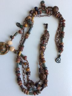 Bohemian Natural Stone Necklace, Ceramic Pendant, Statement Piece Necklace, Chunky Necklace, Multi-Strand Necklace, Jasper Healing Stones by LemonIslandTreasures on Etsy