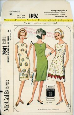 1960s Vintage Dress Pattern McCalls 7641
