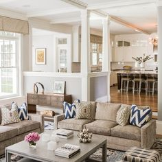 step down living space/ open floor plan