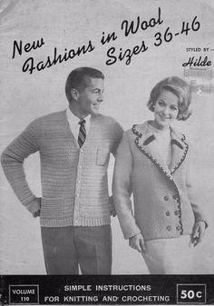 Hilde 110 Sizes 36-42 Knitting Patterns Men Women Cape Cardigan Vest 1965 #HildeFashionsinWool #KnittingPatterns
