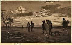Tramping For Tucker (on the Wallaby), 1917. Aquatint with etching, signed by Lindsay and titled by son Peter Lindsay in pencil in lower margin