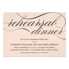 Formal Dinner Rehearsal Dinner Invitations PINK CLASSY REHEARSAL DINNER | PARTY INVITATION