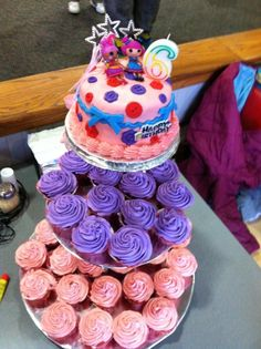 Little girls Birthday cake. Like the cake and cupcake combo