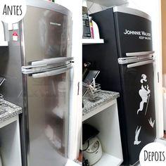 Envelopamento geladeira com Johnnie Walker e Preto Fosco - Antes e Depois