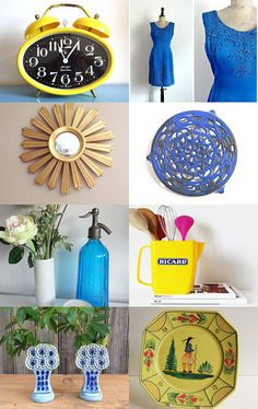 Yellow and Blue Finds from France! by Aurélia Le Mao on Etsy--Pinned with TreasuryPin.com
